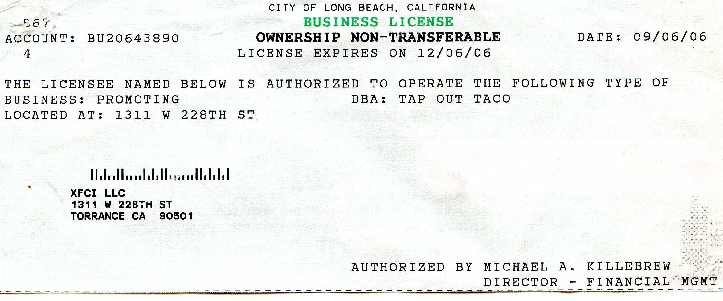 torrance business license ILLEGAL INJUNCTION |